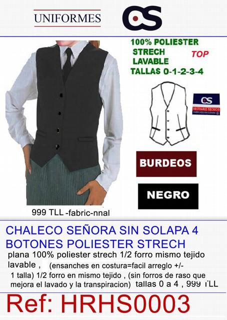 CHALECO CLL/V SRA. 4 BOT TEXT