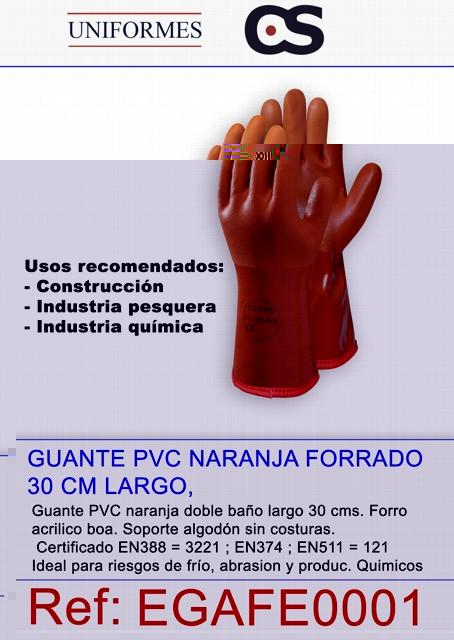 GUANTE PVC NARANJA FORRADO