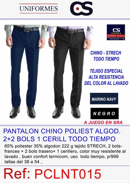 PANTALON CHINO CRO 2+2 BOLS POLT/ALG P997