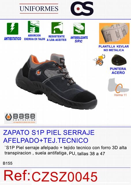 ZAPATO S1 PIEL SERRAJE AFELPADA + TEJ. TECNO P563