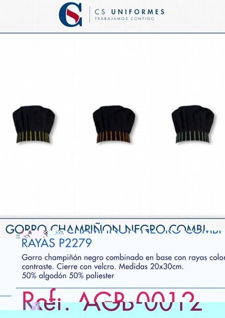 GORRO CHAMPIÑON NEGRO COMBI RAYAS P2279