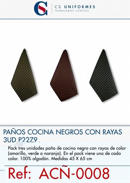 PAÑOS COCINA NEGROS CON RAYAS 3UD P2279