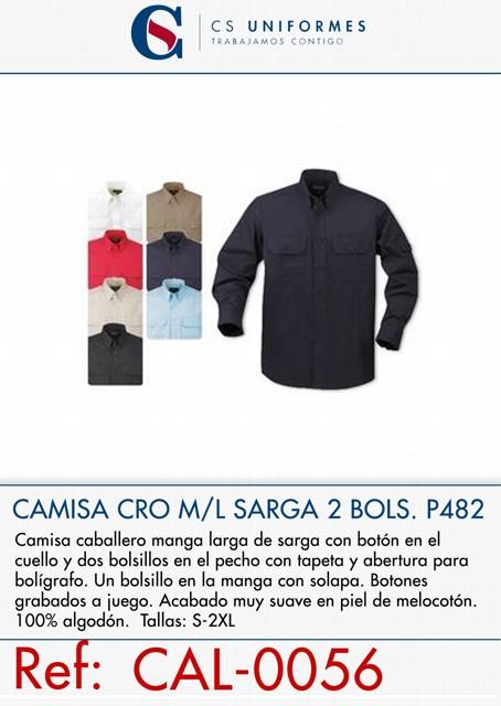 CAMISA CRO M/L SARGA DOS BOLSILLO P482