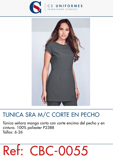 TUNICA SRA M/C 100% POL CORTE EN PECHO P2388