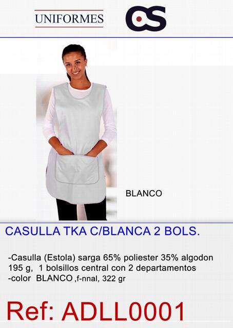 CASULLA BLANCA 2 BOLSILLO