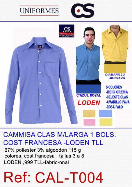 CAMISA M/L.LODEN 1B COLOR TLL